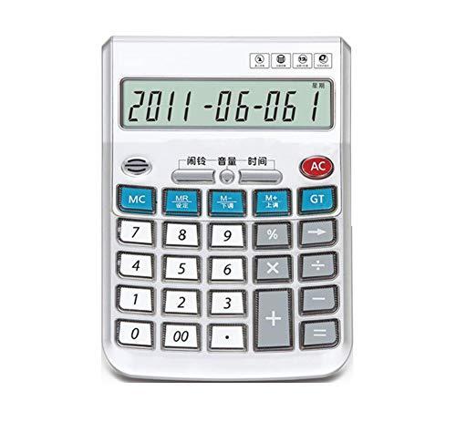 Taschenrechner Voice Desktop Calculator 12-Bit-GroßAnzeige Mit Akku Kalenderanzeige Alarmeinstellungen Echte Menschliche Aussprache Weiß