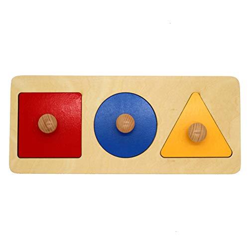 Kalaokei Baby Geometric Shape Match Montessori Wooden Knob Puzzle Pegboard Educational Toy