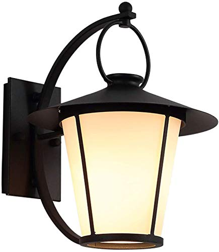 GIOAMH Lámpara de pared para jardín al aire libre, luz exterior negra vintage con pantalla de vidrio, blanco cálido, enchufe E27, aplique de pared de metal resistente a la intemperie para porche, pue