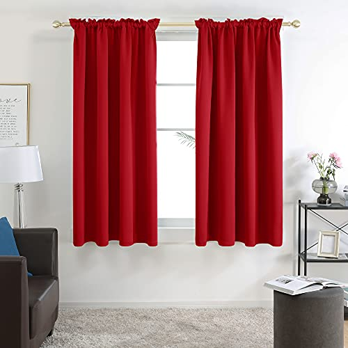 Deconovo Rod Pocket Blackout Curtains for Living Room, Curtains 45 inch Length, Red, 38 x 45 Inch, Thermal Insulated and Room Darkening Curtain Panels, Set of 2