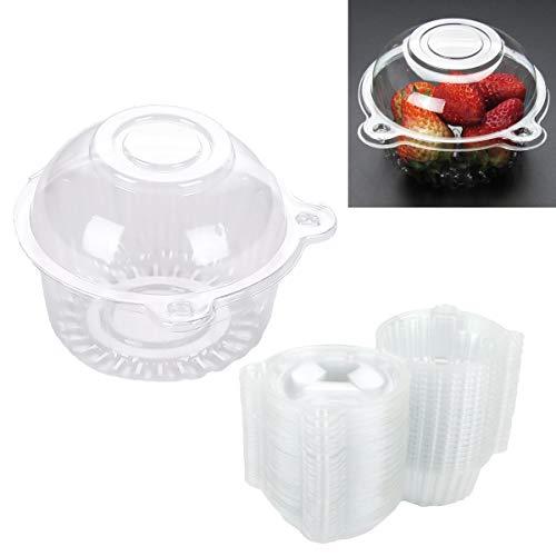 100pcs Contenedores de Plástico,Caja Transparente Desechable de Plástico para Cupcakes,Diseño de Cabeza de Gato,Caja Individual de Plástico Transparente,Envases de Plástico para Alimentos con Tapas