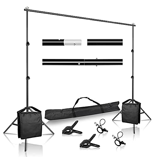 SH Backdrop Stand, 6.5 x 10 ft Adjustable Heavy Duty Photography Background Support System Kit with Spring Clamp, Sand Bag, Carry Bag, for Photo Video Studio