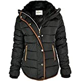 Fashion Thirsty Womens Ladies Quilted Winter Coat Puffer Fur Collar Hooded Jacket Parka Size New (UK 8, Black/Brown Trim)