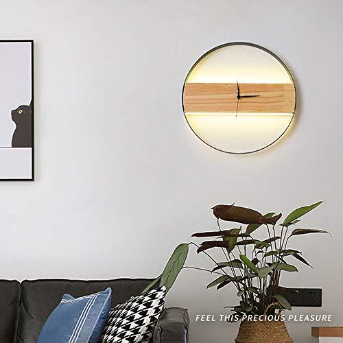 De enige goede kwaliteit Decoratie Bruin Nordic Persoonlijkheid Creatieve Moderne Stijl Kamer Slaapkamer Woonkamer Verlichting Decoratieve Houten Wandlamp Led Klok Wandlamp 30 * 30 (CM)