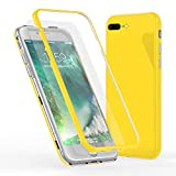 NALIA 360° Funda de Vidrio Compatible con iPhone 8 Plus / 7 Plus, Magnética Carcasa Integral Completa con Cristal Templado, Ultra-Fina Cubierta Móvil Protectora Cover Bumper Estuche, Color:Amarillo
