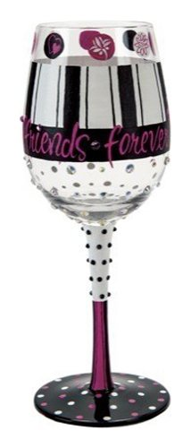 """Designs by Lolita """"Girlfriends Forever"""" Hand-painted Artisan Wine Glass, 15 oz."""