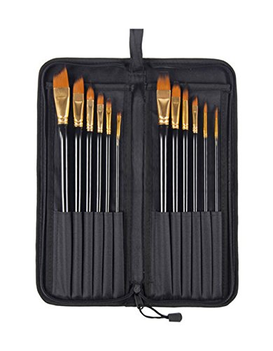 Bomega Set of 12 Premium & Exclusive Fine Art Long Handled Paint Brush + Zippered Carry Bag with Pop-Up Stand - For Oil Acrylic Watercolor Painting