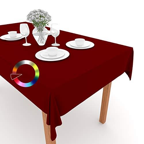 Rollmayer Tischdecke Tischtuch Tischläufer Tischwäsche Gastronomie Kollektion Vivid Uni einfarbig pflegeleicht waschbar (Weinrot 13, 120x160cm)