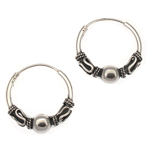 Touch Jewellery 925 Sterling Silver Indo/Bali Style Hoop Earrings with Ball -16mm Diameter