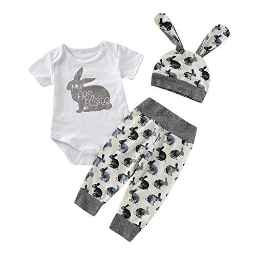 Kobay Ostern Baby Kleidung Set, Neugeborenes Baby Mädchen Jungen Cartoon Erste Ostern 3D Bunny Outfits Romper + Bunny Pants + Bunny Hut Set(70,Grau)