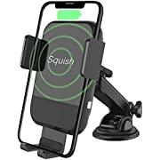 Squish Wireless Car Charger, Qi Fast Wireless Charger Phone Holder for Car Dashboard Windshield for iPhone Xs Max/XS/XR/X/8Plus/8 and for Samsung S9/S9+/S8/S8+/Note9/Note8 & Other Smartphone
