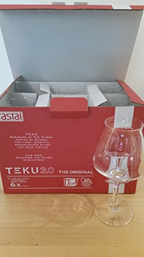 Rastal Teku 3.0 Tulip Craft Beer Glasses - the Original, Non-Nucleated, Glass for Tasting Beer, Italian Made, 14.2ounce, Set of 6 Pack