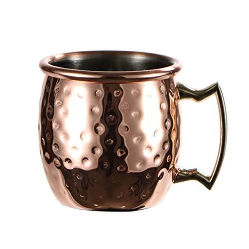 Easyeeasy Mini taza de mula de Moscú martillada, tazas de cobre expreso, vasos de chupito, bonitas tazas de acero inoxidable de 2 oz para mini bar, 60 ml