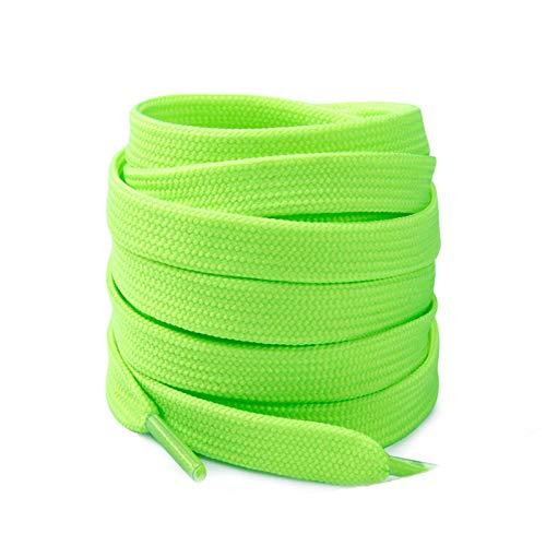 Friendshiy - Cordones planos para zapatillas de encaje con cordones planos de encaje, Verde (verde), 140