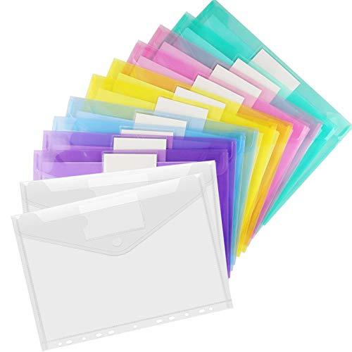 12PCS A4 Cartellette,Cartellette File a4 ,Cartellina Portadocumenti Trasparente,Cartellina Portadocumenti a4 Trasparenti,Colore A4 Plastica Cartellina,cartellina plastica(color12)