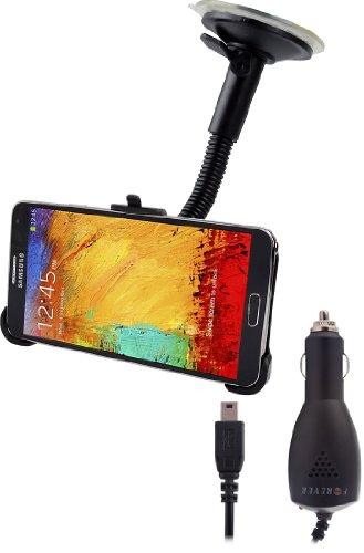 Soporte Coche Stand resistente con ventosa para Samsung Galaxy Note 3N9000/N9005+ Cargador Coche 2100mAh para Note3