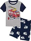 MOMBEBE COSLAND Camión de Bomberos Pijamas de Manga Corta para niños (5 años, Fire Truck)