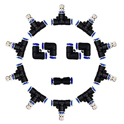 Misting Nozzles,Outdoor Misting Cooling System Nozzles for Patio Garden Umbrellas Fan,1/4-Inch Orifice, 5pcs Link Mist Nozzles,10pcs Stainless Steel Mist Nozzles