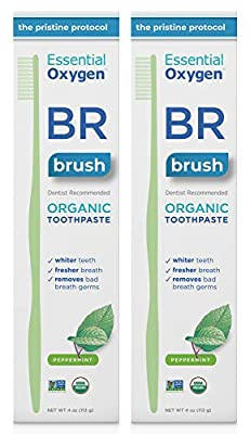 Essential Oxygen BR Certified Organic Toothpaste, for Whiter Teeth, Fresher Breath, Happier Gums, Tooth Sensitivity, Peppermint, 4 Ounce, 2 Count