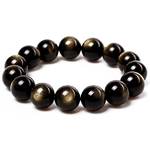 JAJAFOOK Tibetan 28 Mala Bead Gold Obsidian Buddhist Buddha Prayer Beads Bracelet,Stretch String,Unisex