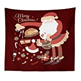 PPTS Navidad serie Santa Claus patrón tapiz tela de poliéster colgante tela