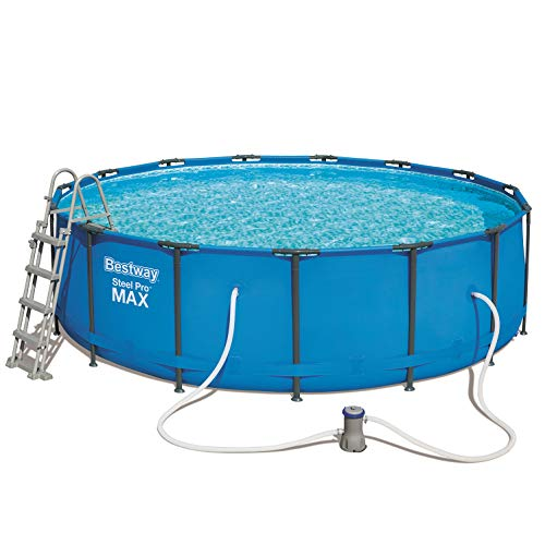 Bestway Steel Pro Round Frame Swimming Pool with Filter Pump, 15 ft