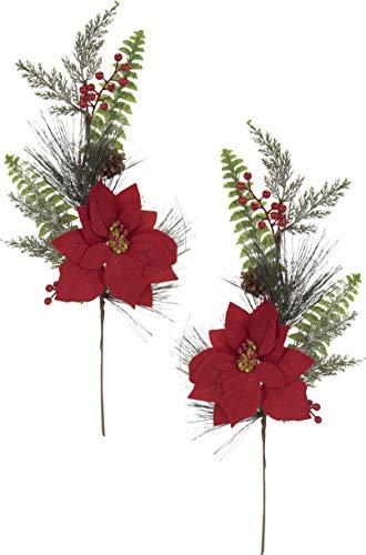 Flair Flower Weihnachtsstern Christstern Zweig Stielblumen Seidenblumen Kunstblumen Weihnachtliche Bouquets Blumen Weihnachtsdeko künstlich 2er Set 62 cm, Rot, 62x22x10 cm