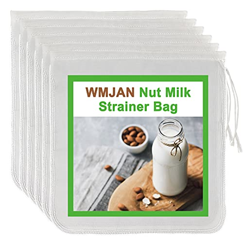 6 Pack – Nut Milk Strainer Bag – Nut Milk Bag Filter for Wheat, Almonds, Soybean – 12 x 12-inch Nut Bags for Straining – Ideal for Homemade Nutmilk, Juices, Cold Brew – Durable Food Grade Nylon Mesh