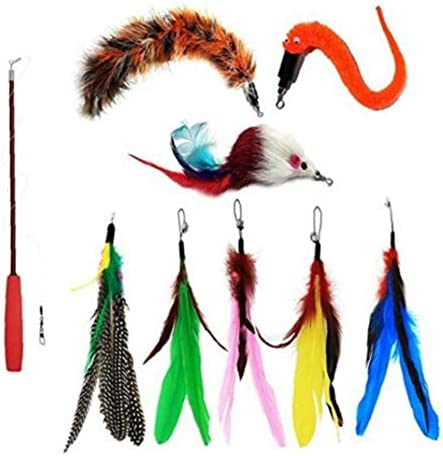 Cat Toy Interactive Feather Toy Funny Stick Cat Cat Teaser Wand Retractable Driedelige met Replacement 9PCS