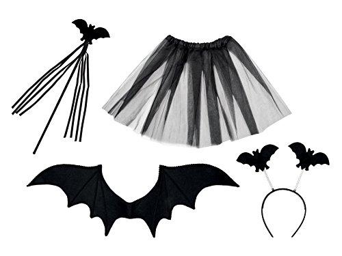 Boland 74529 - Kostüm-Set Fledermaus bestehend aus Tiara, Stab, Flügel und Tutu, Karneval, Mottoparty, Halloween