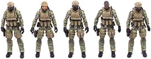 ZSMD 1/18 Soldier Action Figures, 5Pcs 4-Inch Military Soldiers Special Forces Army Man Action Figures Playset with Weapons and
