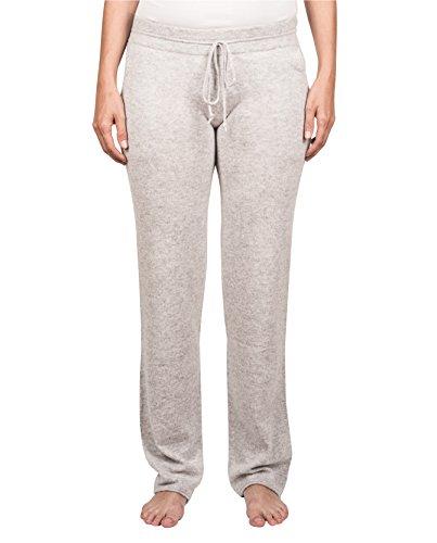 CASH-MERE.CH 100% Kaschmir Damen Jogginghose Sporthose, ideale Freizeithose und Trainingshose (Hellgrau, M)