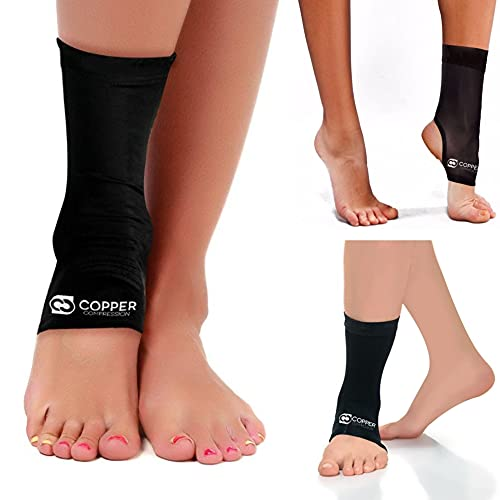 Copper Compression Recovery Ankle Sleeve - Guaranteed Highest Copper Content Infused Ankle Brace Wrap Sock Stabilizer for Men and Women. Wear to Support Stiff and Sore Muscles and Joints. Fit for Men and Women - Large