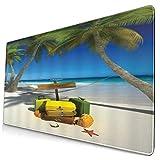 NUXIANY Alfombrilla de Ratón Gaming Océano Playa Vacaciones Relajación Viaje de Verano Maleta Trópico Mar Palmera...
