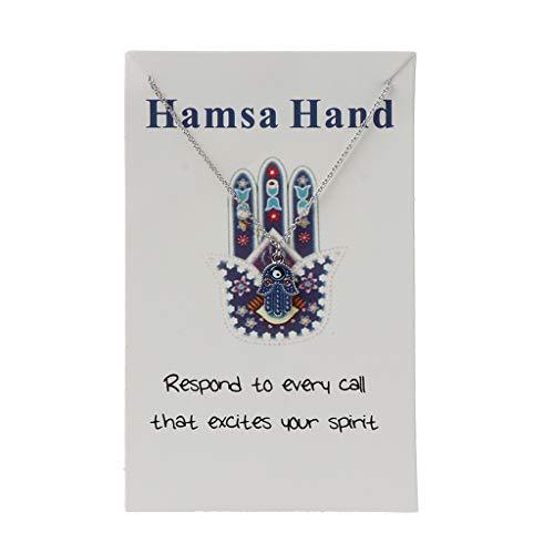 Joocyee Esmalte Hamsa Fátima Mano Colgante Collar Tarjeta de Deseos Azul Mal de Ojo Amuleto joyería, Collar de Ojo de la Suerte, Oro