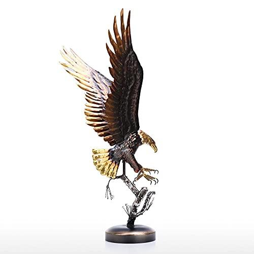 Escultura de águila Calva Adornos de Hierro Modernos Decoración artística de Sabor Artesanía Hecha a Mano Estatuilla de Animal Especial Decoración para el hogar, como se Muestra