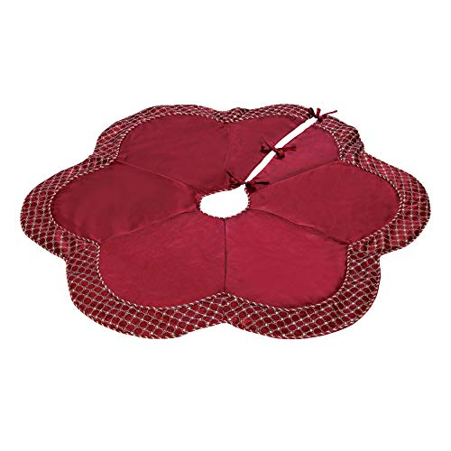 BrylaneHome Christmas Scallop Edge Border Christmas Tree Skirt, Red