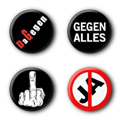 4 Punk Buttons Buttonset Gegen Alles Dagegen Anstecker Ansteckbuttons Punkrock #3 (2,5cm)