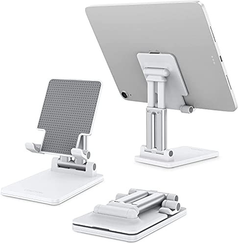 "OMOTON Tablet Stand Foldable TA01 Desktop Stand, Height Angle Adjustable Aluminum Tablet Holder Cradle Dock Compatible with iPad, Samsung Tabs and Other Devices (Up to 11""), White"