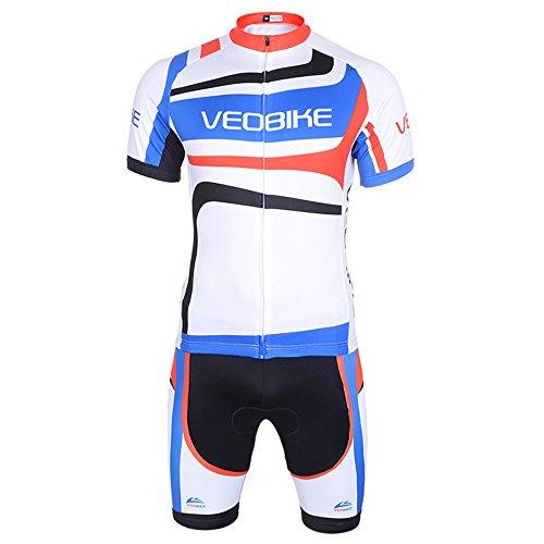 VEOBIKE Cube Ciclismo Racing Wear Breve Tuta a Maniche Corte da Uomo con Imbottitura in Gel Pantaloncini Pantaloni Corti