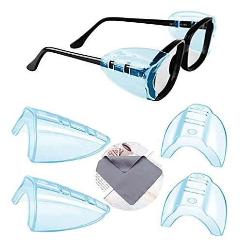 YUERR 2ペア 花粉症めがね 防塵 花粉カット メガネ 子供 花粉対策 メタルフレーム保護メガネ用サイドシールド かふんしょうのメガネ 曇らない 小から中のメガネフレームに適合1 PC眼鏡布付き(メガネは含まれていません)(4 個入り-M-青)