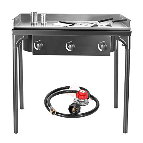 TELAM Flat Top Gas Grill Griddle Portable 3-Burner Propane Gas Grill and Griddle Combo Stainless Steel BBQ Gas Grill With Folding Legs, Propane Gas Grill for Outdoor Use