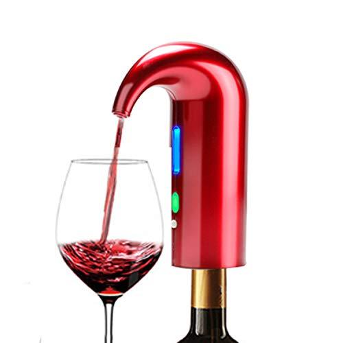 JOQINEER Versatore Elettrico per aeratore per Vino, Tappo per distributore Automatico di Vino Multi-Smart - Versatore per aerazione Premium e beccuccio per Decanter - conservante per Vino,Red