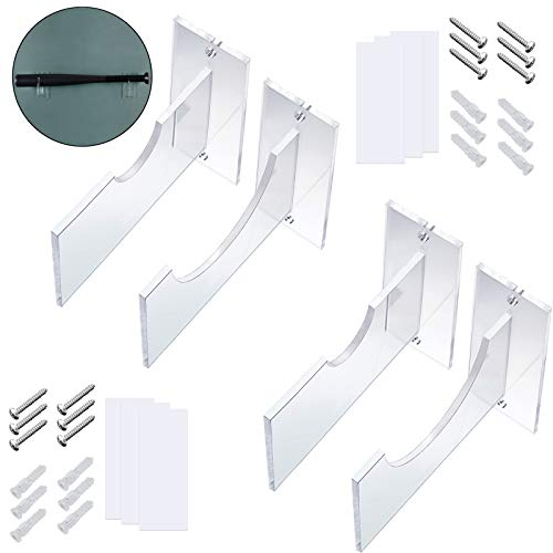 2 Pairs Clear Acrylic Bat Wall Mount Baseball Bat Holder Baseball Bat Display Holder with Screws and Non-Nail Double-Sided Tape for Storage