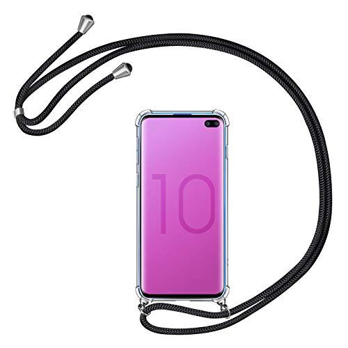 AROYI Handykette Handyhülle kompatibel mit Samsung Galaxy S10 Plus Hülle mit Kordel zum Umhängen Necklace Hülle mit Band Schutzhülle Transparent Silikon Acryl Hülle Schwarz Silber