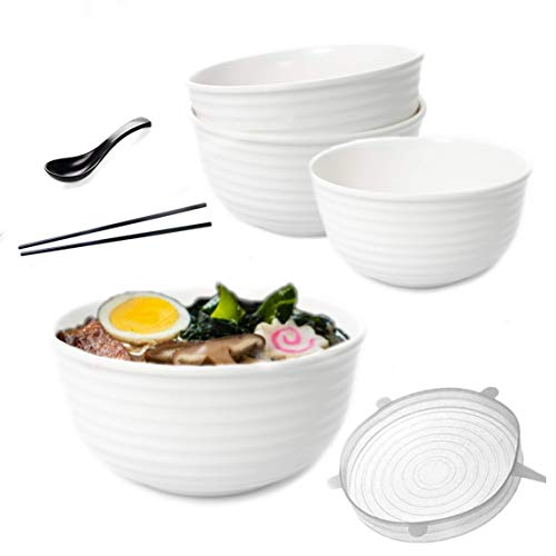 Vallenwood: 4 Noodle Bowl (16 pieces) Melamine White Large Ramen Bowls Set. Asian Chinese Japanese or Pho Soup 46 oz. With Spoons, Chopsticks And Silicone Stretch Lids Like A Gift. Thai Miso Udon.