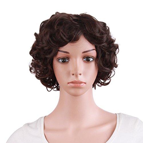 MapofBeauty 10 Inch/25cm Special Elderly Short Curly Fashion Wigs(Dark Brown)