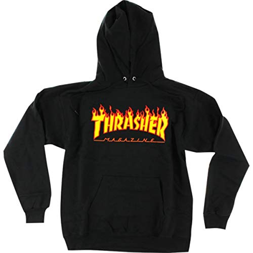 Thrasher Magazine Flames Black Men's Hooded Sweatshirt - Small