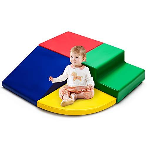 COSTWAY 4 TLG. Schaumstoffbausteine, Riesenbausteine zum Toben und Klettern, Softbausteine aus Schaumstoff, Großbausteine, Bauklötze für Kinder im Vorschulalter, Babys und Schulkinder (Rot-bunt)