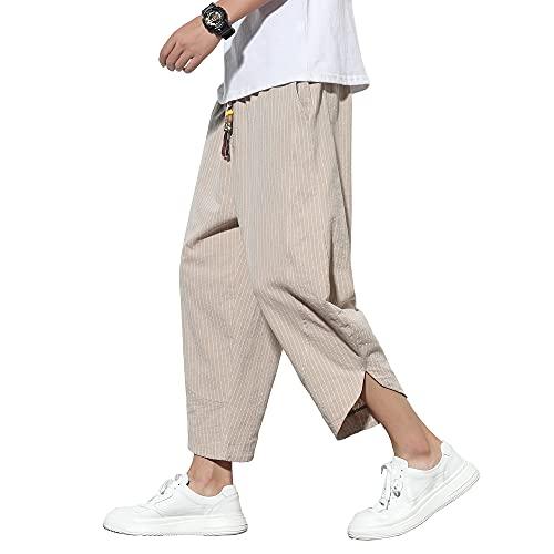 サルエルパンツ メンズ ワイドパンツ 夏用 ズボン 涼しい リネンパンツ 7分丈 ハーフパンツ ゆったり ずぼん 大きいサイズ ボトムス ストライプ 袴パンツ 春 夏 秋 khaki L